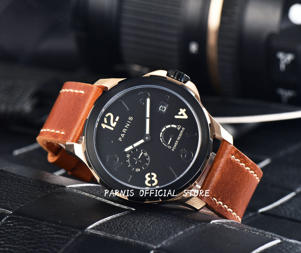 2017 Issue Automatic Watch Men Parnis 44mm Power Reserved Steel Black Gold Case Brown Leahter Sapphire Mechanical Men's Watches сумки reserved сумка