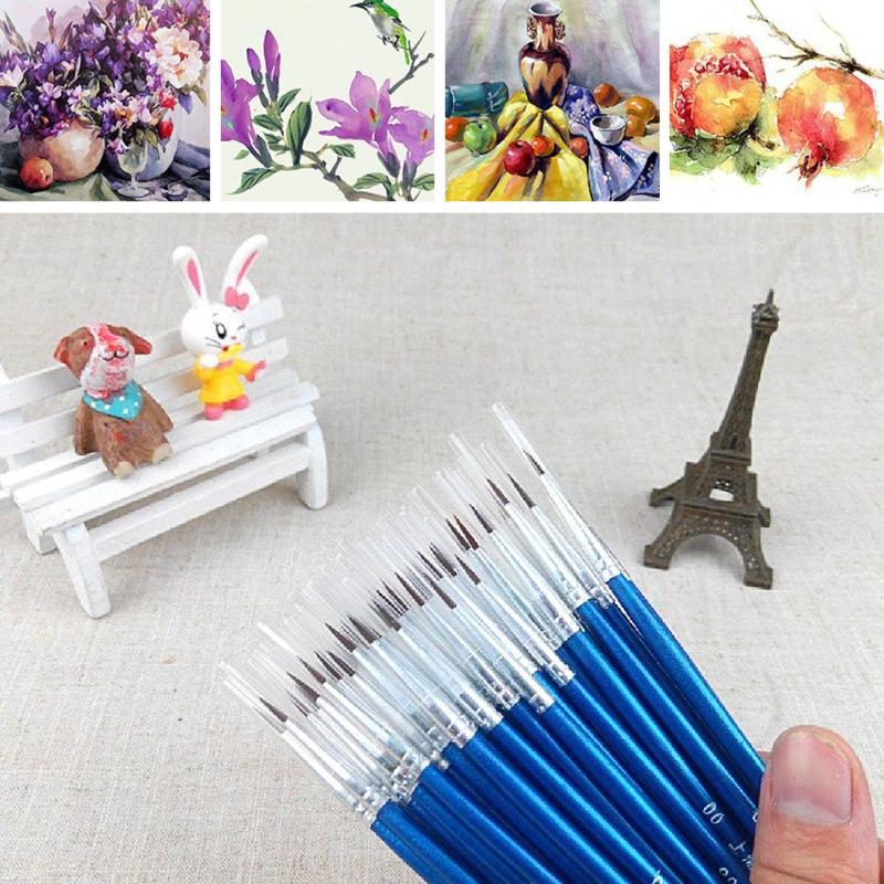 10 Pieces / Set Of High Quality Beautiful Hand-painted Thin Hook Line Pen Drawing Art Pen Paint Brush Plastic Nylon Brush Pen