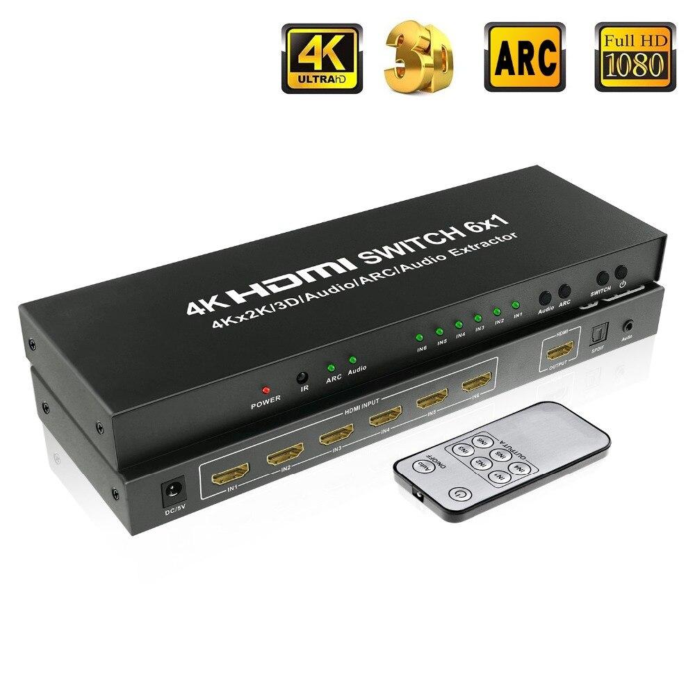 6x1 HDMI Commutateur À Distance 6 Ports HDMI Commutateur Switcher 4 k x 2 k HDMI 1.4 Adaptateur avec optique + 3.5mm Sortie Audio