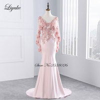 Liyuke Crystals Deep V Neckline Cap Sleeve Formal Dress Backless Zipper Mermaid Pink And Red Color