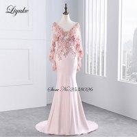 Liyuke Crystals Deep V Neckline Cap Sleeve Formal Dress Backless Zipper Mermaid Pink And Red Color