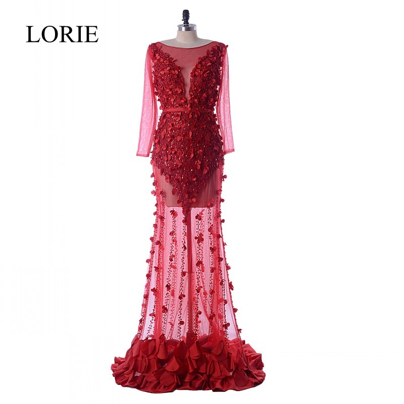 Luxury Burgundy   Evening     Dress   Long Sleeve 2018 LORIE Vintage Lace Flowers Mermaid Prom   Dresses   Sheer Illusion Formal Party Gowns