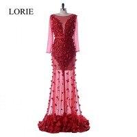 Luxus Burgund Abendkleid Langarm 2018 LORIE Vintage Spitze Blumen Nixe-abschlussball Sheer Illusion Formale Party Kleider