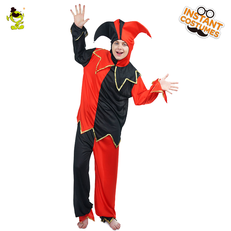 Popular  Male Court Jester Clown  Costume Role Play Halloween Party Red & Black Outfit Fancy Dress Cosplay Clown Costumes