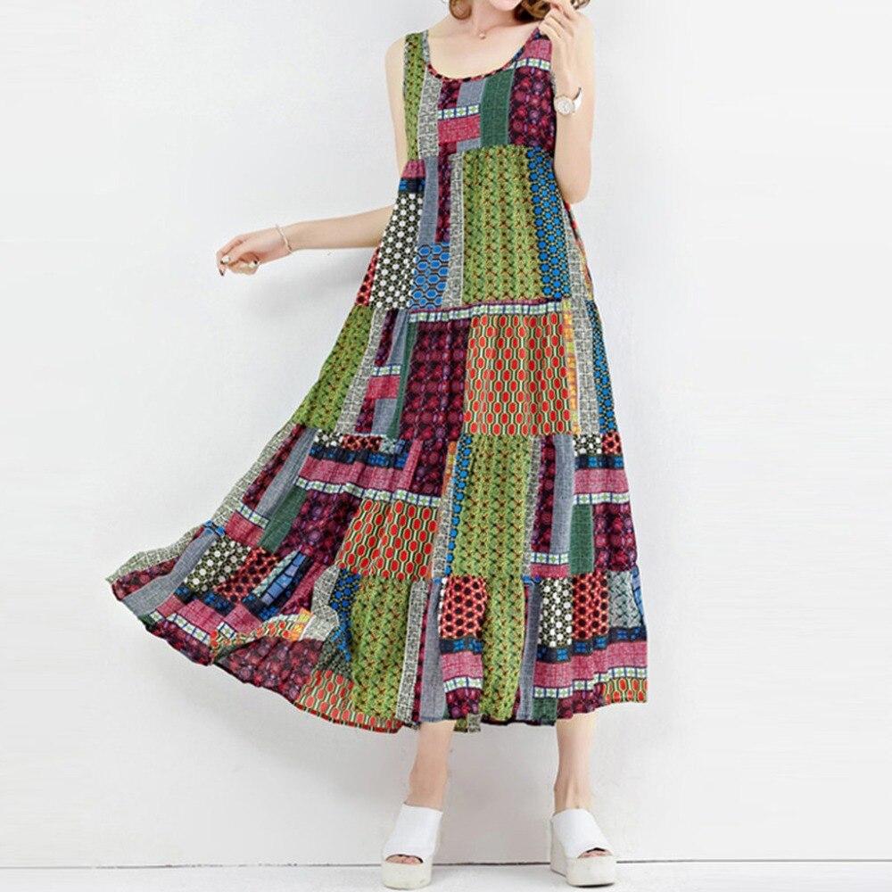 Harajuku Fashion Women Beach Dress Vintage Loose Sleeveless O-neck Irregular Print Retro Casual Dresses 2020 Vestidos Mujer BB4