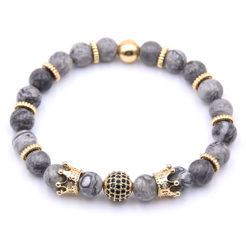 KANGKANG Popular Pave CZ Small Crown and ball Bracelet Classic Natural Stone 9 styles Bead Bracelets Charm Jewelry 2018