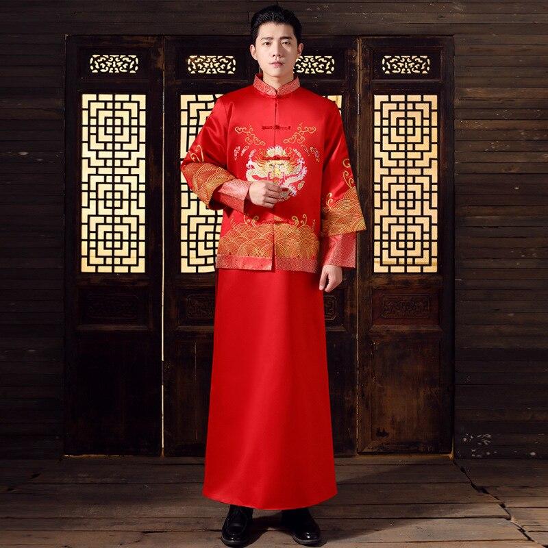 Китайский стиль свадьбы mens toast костюмы платье красный Вышивка Жених вечернее длинное платье кимоно Жених куртка Костюм Танг одежда