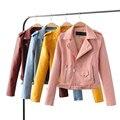Женщины ПУ Куртка 2017 Новая Мода Куртки Женщины Цвета Конфеты Кожаная Куртка Верхняя Одежда Пальто Косой Молнией Мотоцикл ПУ Куртка