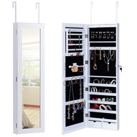 Goplus Door Mounted Mirrored Jewelry Cabinet Armoire Organizer Modern Wood Lockable Furniture With 2 Drawers HW54413
