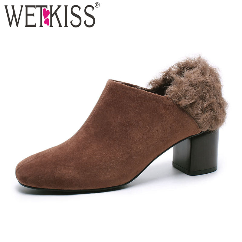 WETKISS Thick High Heels Women Pumps Square Toe Footwear Casual Female Shoes 2019 Spring New Fur