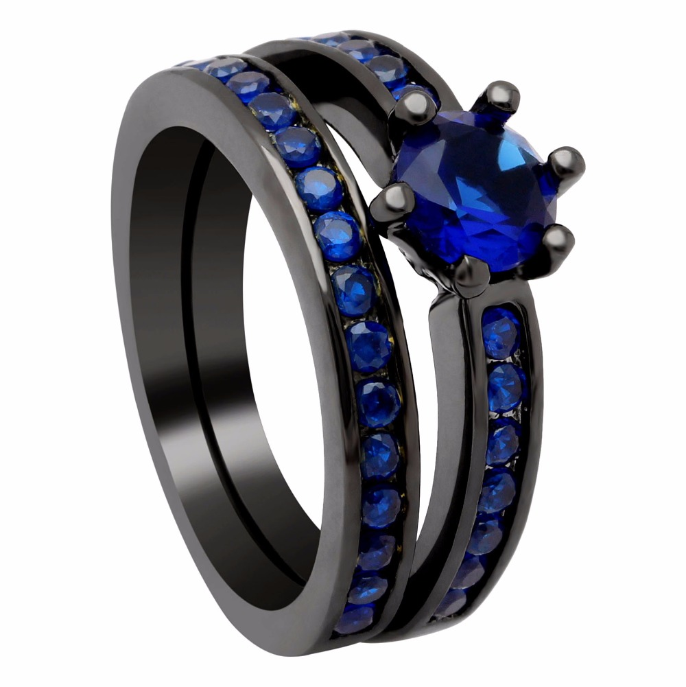 Black Wedding Rings Meaning.Hot Royal Blue Cubic Zirconia Black Rings Sets Black Gun