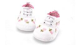 Wind Leinwand Bestickt Weiß Baby Schuhe Non-slip Weichen Boden Floral Kleinkind Schuhe Erste Wanderer