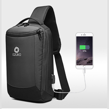 OZUKO 9078 Mens Anti-theft Sling Chest Bag USB Charging Travel Crossbody Bags Water Repellent Fashion Messenger Male