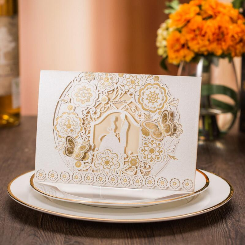 Butterfly and Flowers Design Paper Wedding Invitations White Invitation Cards with Insert Paper Blank Card Envelope 50pcs/pack square design white laser cut invitations kit blanl paper printing wedding invitation card set send envelope casamento convite
