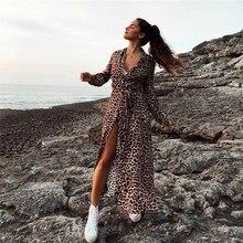 2018 Autumn Women Leopard Long Sleeve Split Dress Sexy Club High Waist V-Neck Snake Print Dress Vestidos tropical print split sleeve elasticized waist dress