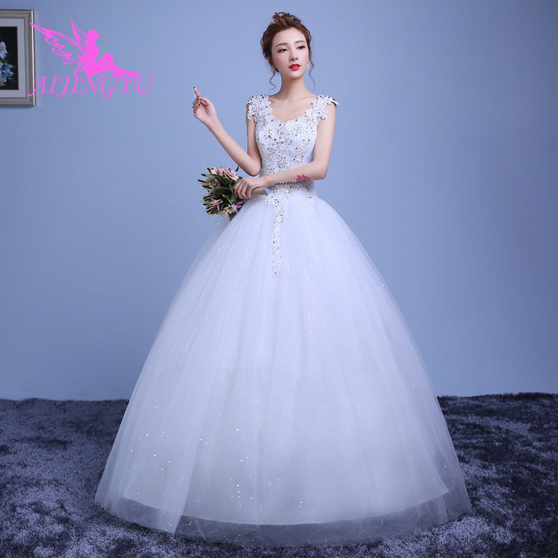 AIJINGYU 2018 Girl Free Shipping New Hot Selling Cheap Ball Gown Lace Up Back Formal Bride Dresses Wedding Dress WK184