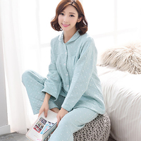 Autumn Winter Maternity Nursing Clothes For Pregnant Women Clothes Floral Luxury Cotton Maternity Nursing Sleepwear Set