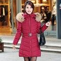 NXH Снег носить ватные куртки женщины 2016 осенью и зимой куртка женщин тонкий Длинный Хлопок верхняя одежда зимнее пальто женщины плюс размер