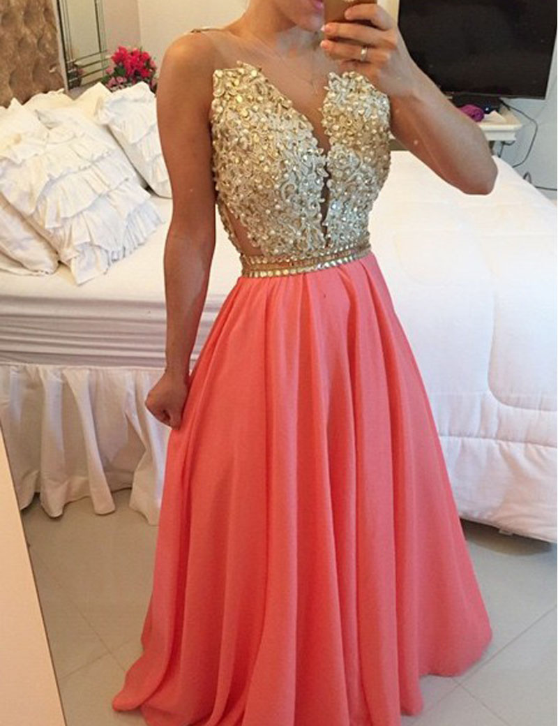 Popular Gold Coral Prom Dresses Chiffon-Buy Cheap Gold Coral Prom ...