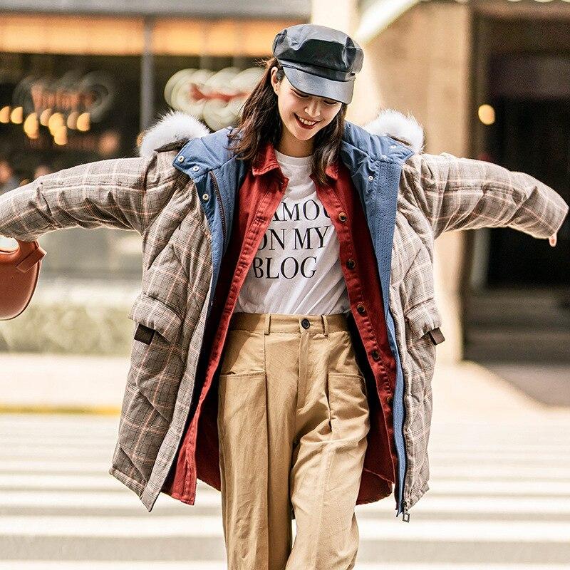 Vers Pain Coréenne Épaississement Le Long Version Shintxxx Chaud Beige Nouvelle Hiver Vêtements Veste Bas De Femmes Grand Collier Pour Cheveux 2018 Chapeau jaune Mode Y11w6f