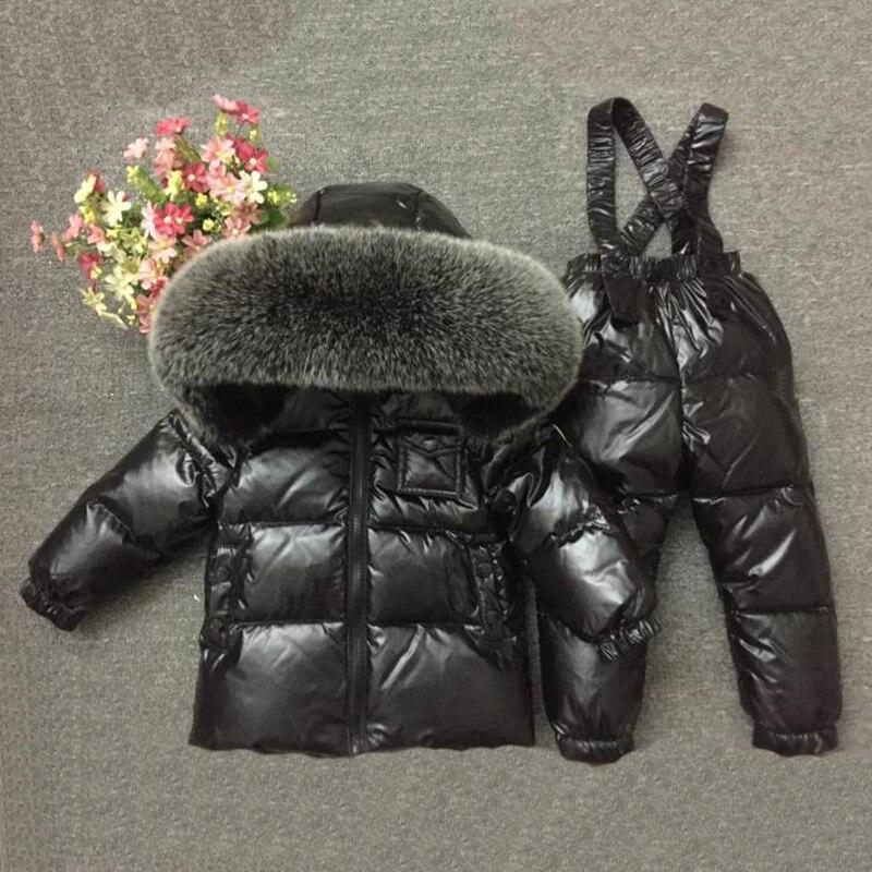 2-7y enfants hiver chaud Snowsuit grande Nature fourrure épais vêtements garçons hiver imperméable Outwear 2 pièce ensemble fille doudoune manteau