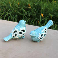 Hollow Porcelain Bird Lovers Figurine Ceramic Couple Birdie Decor Craft Ornament for Valentine's Day Gift Marriage Souvenir
