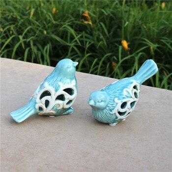Hollow porcelana miłośnicy ptaków figurka ceramiczna para Birdie Decor ornament do rękodzieła na prezent na walentynki pamiątka małżeństwa