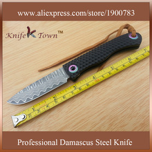 DS017 2016 new style damascus steel knife with G10 handle utility folding knife Camping Knife tactical combat knife