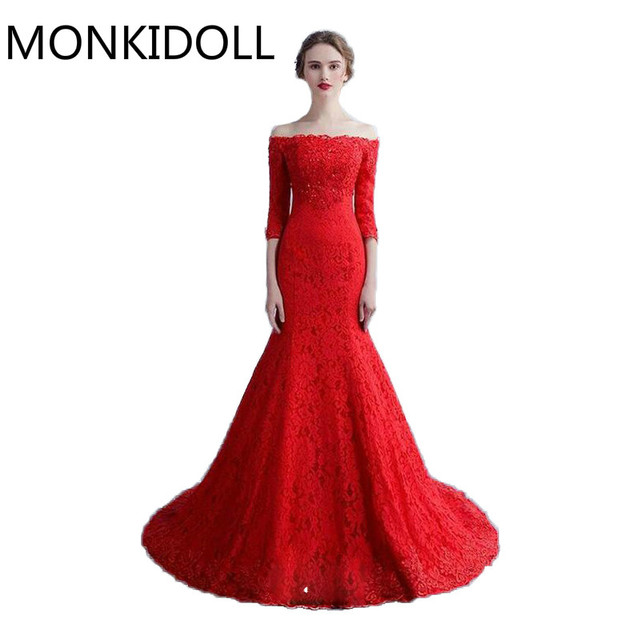 2017 new design mermaid red lace wedding dress 3/4 sleeve off the ...