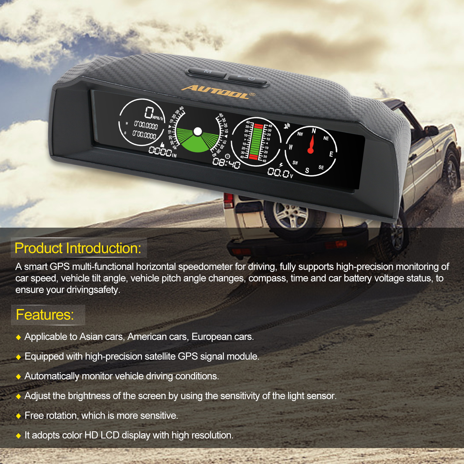 Image 4 - AUTOOL X90 GPS Speed Slope Meter Inclinometer Car HUD  Automotive Tilt Pitch Angle Protractor Latitude Longitude Smart Compass-in Head-up Display from Automobiles & Motorcycles