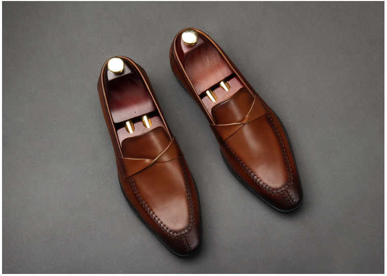 ผู้ชายรองเท้าหนังแท้รองเท้าหนังแบนรองเท้าสีดำรองเท้าผู้ชายลื่นบนคุณภาพสูง Handmade สีน้ำตาล Loafers