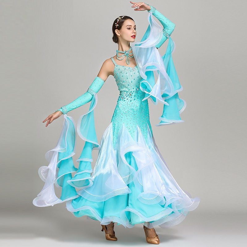 Lady Ballroom Dancing Dress Girls Waltz Dancing Dress Adult Modern Dance Wear National Standard Drill Costume