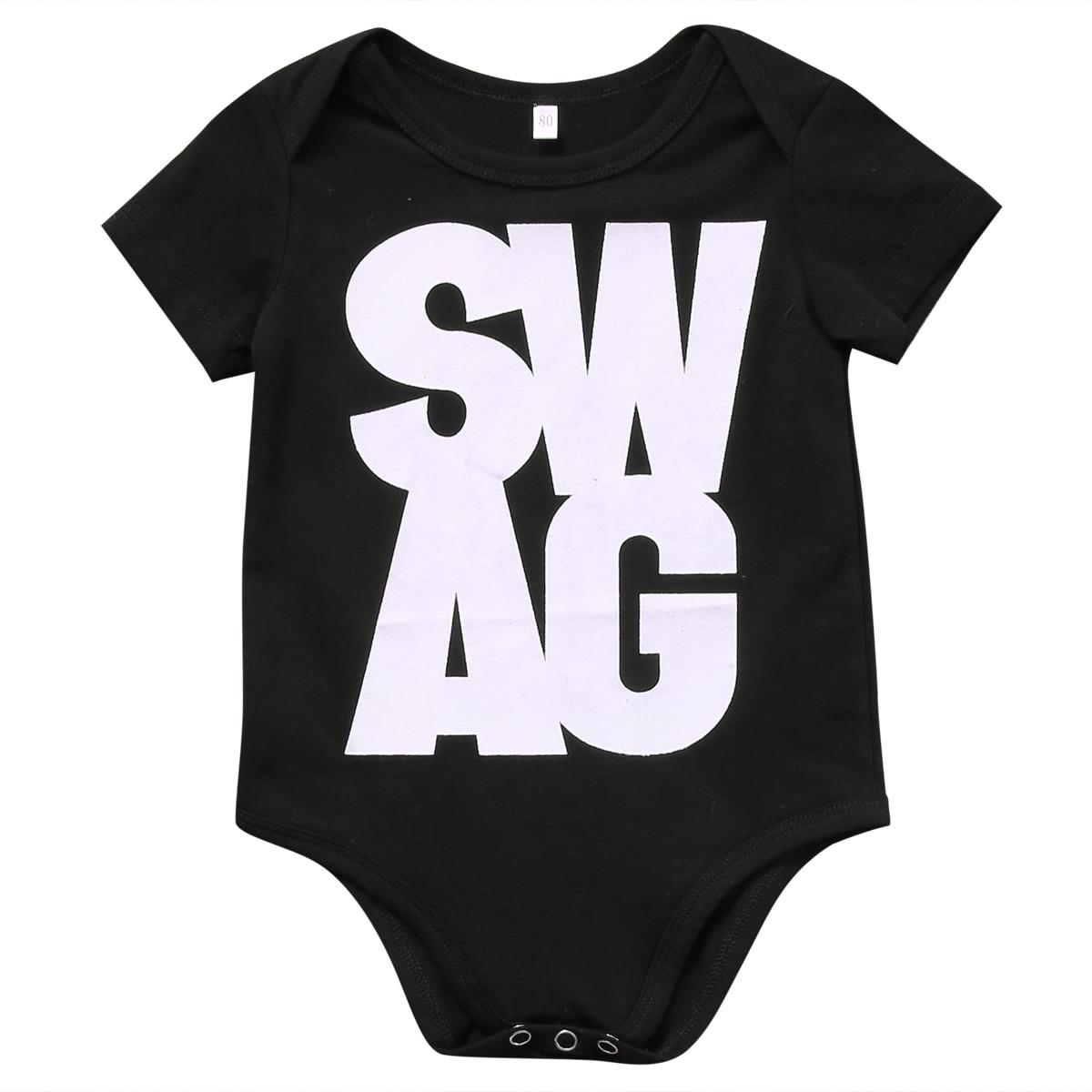 Newborn Kids Baby Boy Girl Unisex SWAG Bodysuit Jumpsuit Sunsuit Outfit Clothes Casual Babies Short Sleeve Bodysuits