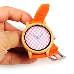 Image 3 - בובו ציפור Wb03 ורוד משובץ חיוג צלחת עץ שעונים עם חי כתום סיליקון ג לי חגורת קוורץ שעון לנשים