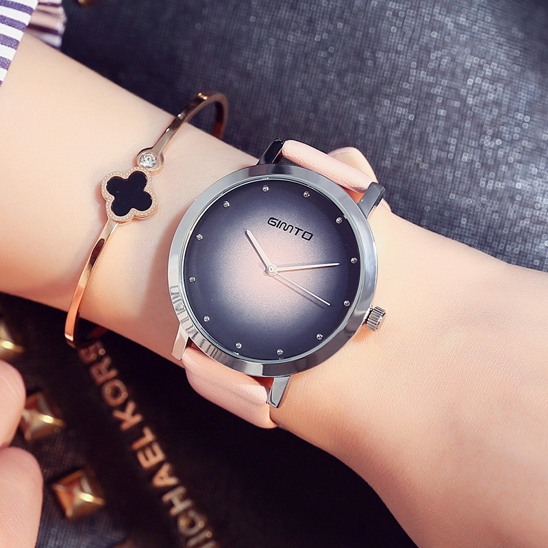 GIMTO Girl Dress Women Watches Leather Strap Creative Ladies Watch Clock Casual Female Analog Quartz Watch