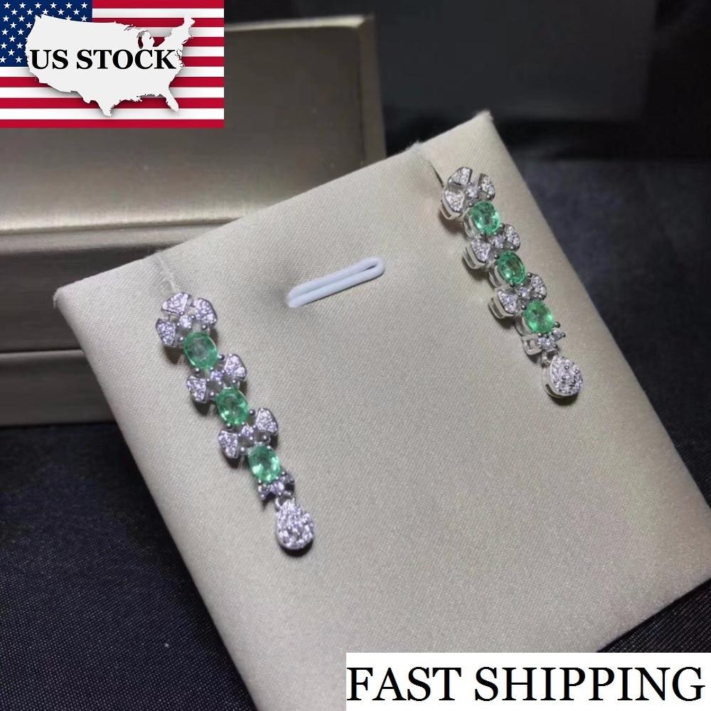 Uloveido Natural Emerald Earrings for Women 925 Sterling Silver 3 4mm 6 Pcs Birthstone Gemstone Wedding