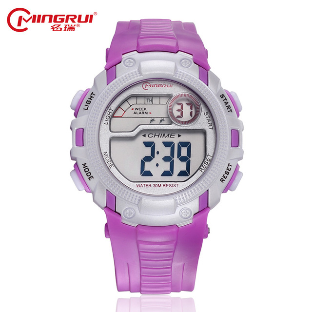 MINGRUI Digital Watch Children Waterproof Silicone Sport Watches Students Kids Fashion Luminous LED Watches Alarm Hour Gift