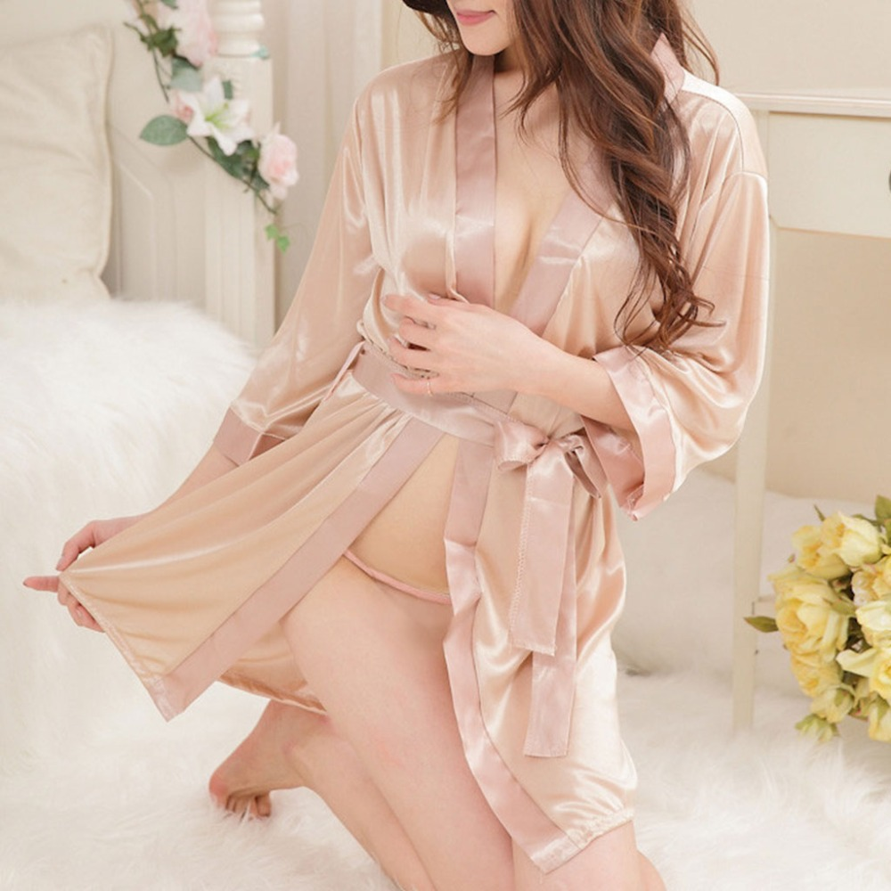 Women s Short Kimono Style V Neck Bathrobe Plain Dressing Gown Bridal Party  Robe-in Robes from Women s Clothing   Accessories on Aliexpress.com  6d354cbfa9b1