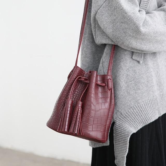 New Arrived South Korean Crocodile PU Bucket Bag Shoulder Bag Wintage Mini Bucket Bag Small Black Brown Red