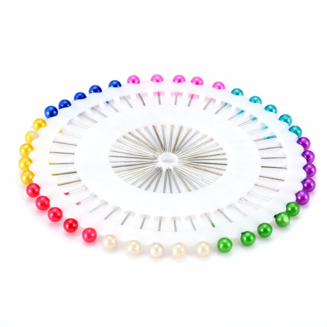 80 Colorful Pearl Head Sewing Pins Wedding Corsage Florist Dressmaking Craft
