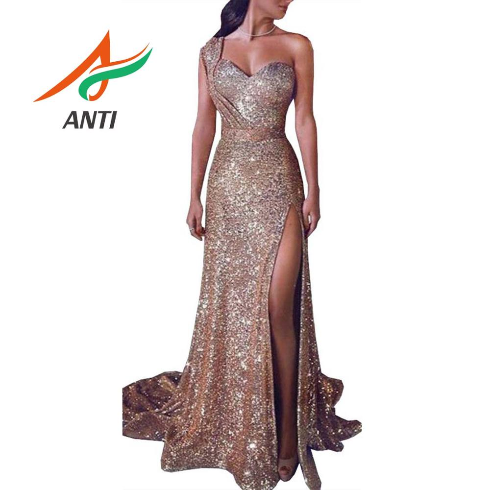 ANTI Strapless Sparkly   Prom     Dresses   2019 Sequins Evening Party   Dress   Sexy One Shoulder High Split Vestido de Festa Real Photo