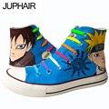 JUP Men Mans Boy Girl Red Flats Graffiti Cartoon figure Love Sasuke Hand-painted Canvas Shoes Lazy Shoelace Footwear Cool Boots