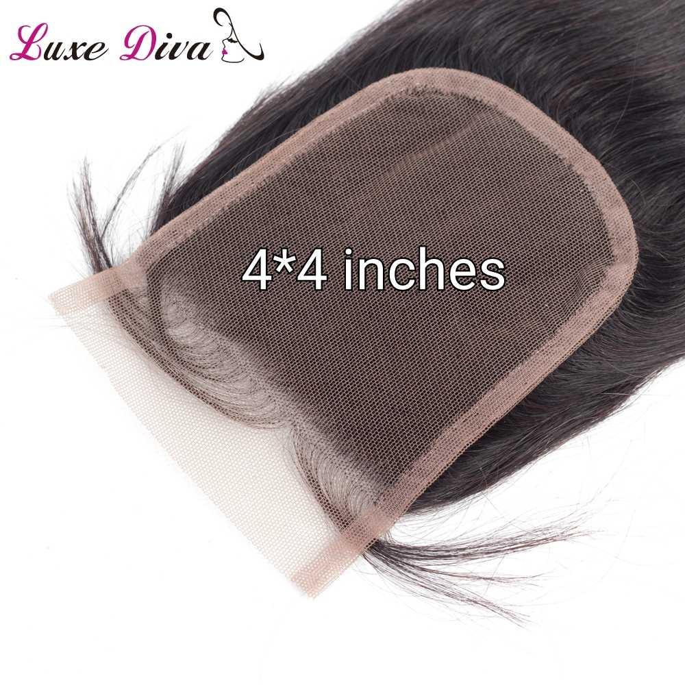Роскошная Дива бразильские волосы, объемная волна, кружева, закрытие 4x4, не Реми, человеческие волосы, Закрытие с волосами младенца, натуральный черный цвет, Бесплатная часть