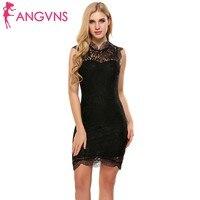 ANGVNS Women Lace Dress Spring Summer O Neck Sleeveless Floral Vintage Slim Pencil Feminino Dresses Vestidos