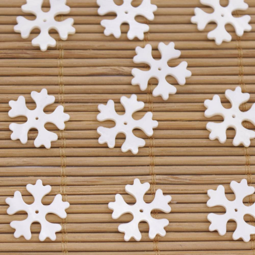 Купить с кэшбэком 10 PCS 16mm Natural White Shell Snowflake Mother of Pearl Jewelry Making DIY