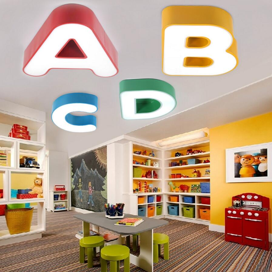 Modern Ceiling LED lamp The letter metal Ironware Acrylic colorful iron light Children Bedroom indoor lightings light fixture