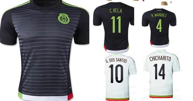 2e08f6032ef29 Top Thai Quality 2015 G.DOS SANTOS Home White Shirt CHICHARITO Mexico  Jersey 2016Mexico Soccer