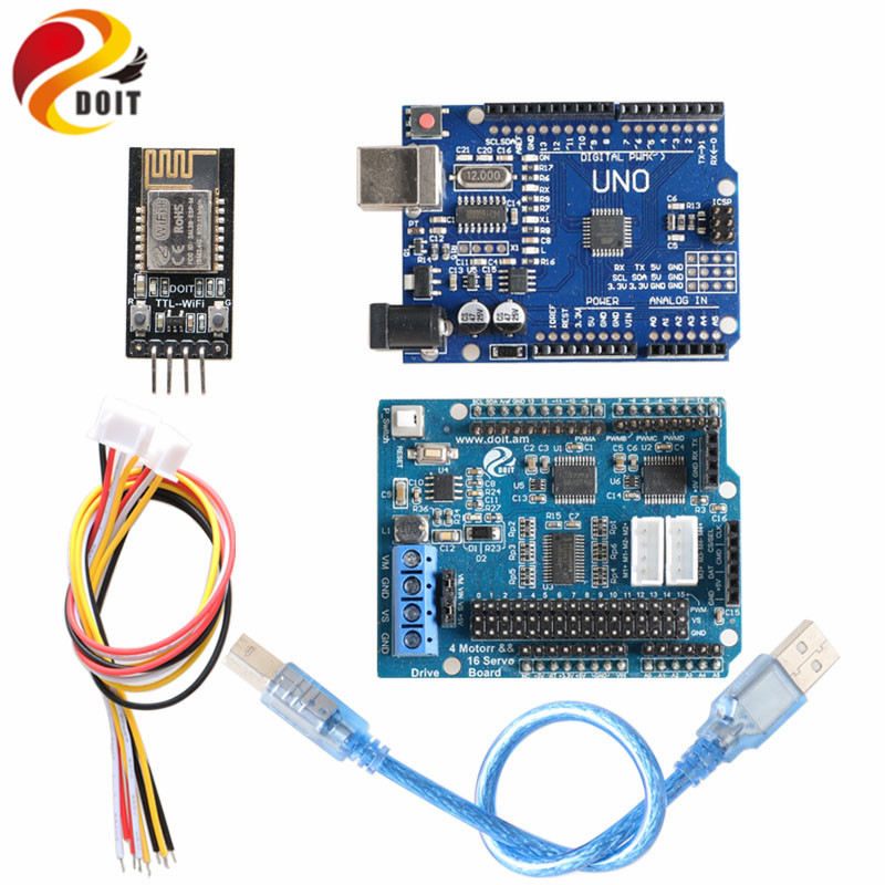 Bluetooth, WiFi, Handle Robot Car Arm Controller Kit for Arduino with UNO R3, Motor Driver Board, WiFi Module, Bluetooth Module