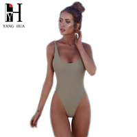 YANG HUA Bikini 2018 New 20 Color Solid Color Bow Tie Bikinis One Piece Swimsuit Women