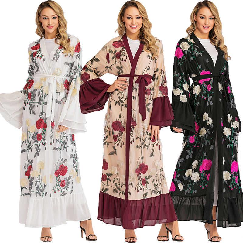Большие размеры Длинные кимоно Mujer Verano 2019 abaya Дубайский мусульманский женский